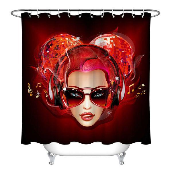 Disco Music красный BeautyDurable Ткань Mold Proof ванной Подвеска Креативный с 12 Крючки 180x180cm
