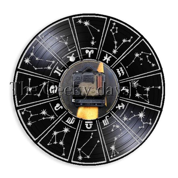 Compre Reloj De La Constelación En El Signo Del Zodiaco Disco De Vinilo Decorativo Interior En La Astrología Estrellas Del Zodiaco Reloj Reloj De