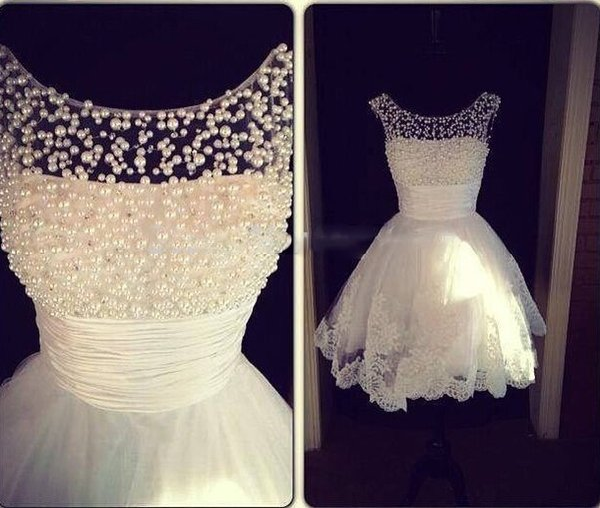 abiti da cocktail party A Line Jewel Collar White Applique Perle Formal Party Homecoming Dress Short Mini Prom Dresses