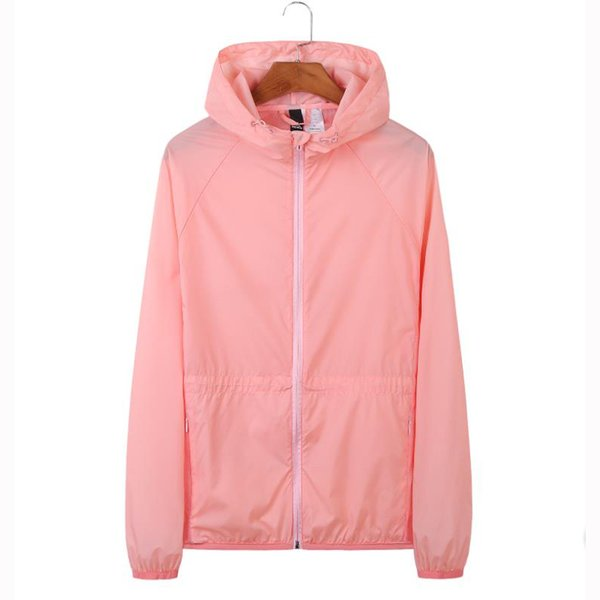 2019 Women Jacket Spring Summer Thin Coat Windbreaker Pink Color Zipper Outerwear Fashion Casual Hoodies for Women