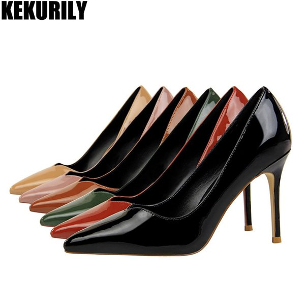Woman Shoes leather Slip on Pump High Heels Slides Pointed Toe Sandals Occupation zapatos mujer Black Red Green khaki brown #37498
