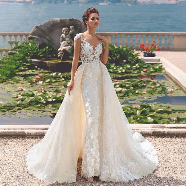 Vintage Mermaid Wedding Dresses boho 2019 Deep V-neckline Off the Shoulder 2 In 1 Detachable Train Bride Gown Customized wedding Gowns