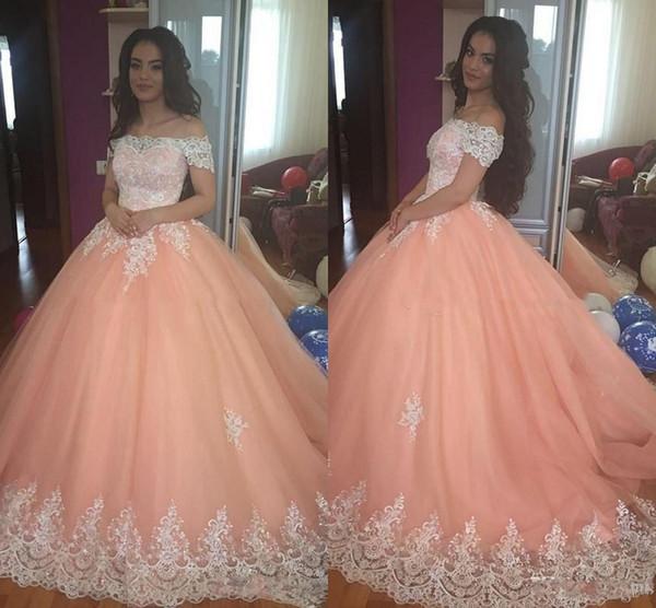 Doce 16 Pêssego Vestidos Quinceanera 2019 Fora Do Ombro Apliques Puffy Corset Voltar vestido de Baile Princesa 15 Anos Meninas Prom Party Vestidos Personalizados