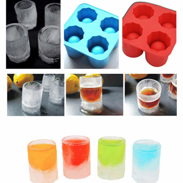 Hot summer 4 hole ice lattice frozen mold maker tray party bar tool ice shot glass mold mold ice cream tool T2I5084