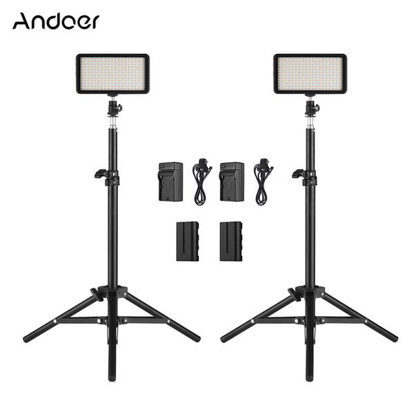 El kit de luz de video LED de Andoer incluye 2pcs 3200K / 6000K Photo Studio Cámara de luz LED de video con soporte y cargador de batería