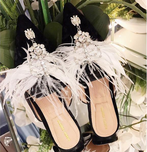 Estate nuove scarpe da donna classiche di alta qualità strass pantofole pantofole da donna in pelle morbida pantofole da spiaggia all'aperto qw