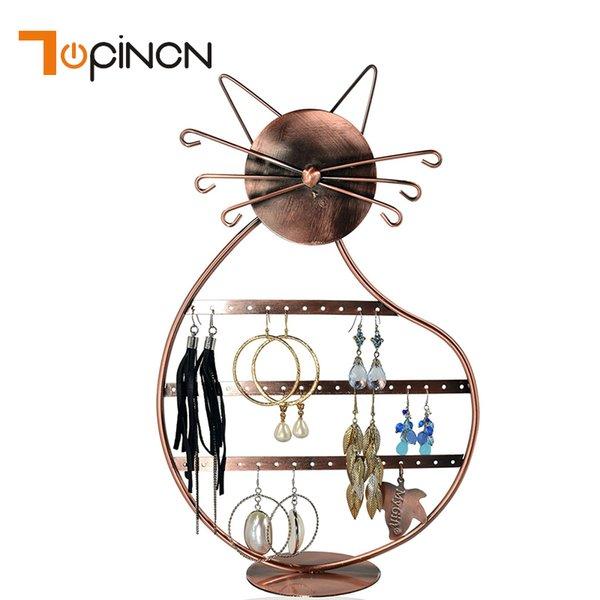 Cat Metal Earrings Organizer Rotating Earring Display Rack Jewelry Necklace Earrings Stud Storage Organizer Hanging