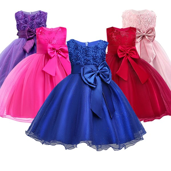 Christmas Girl Dress For Evening Prom Party Costume Teenage Girls Kids Clothes Wedding Birthday Gown Little Girl Red