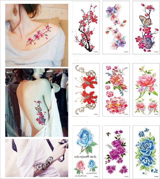 2019 NOUVEAU 28 styles Femme Autocollant De Tatouage Fleur Croquis Pivoine Fleur De Prunier Imperméable Temporaire Autocollant De Tatouage