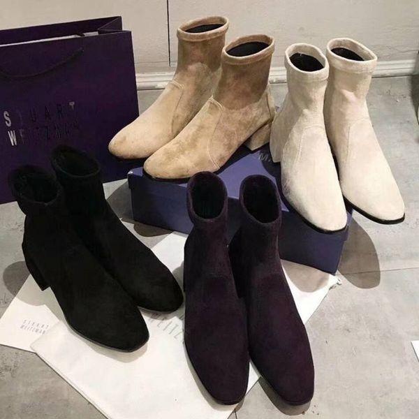 La stilista di stivali da donna autunno e inverno classico usa stivali quadrati da donna micro-faccia importati