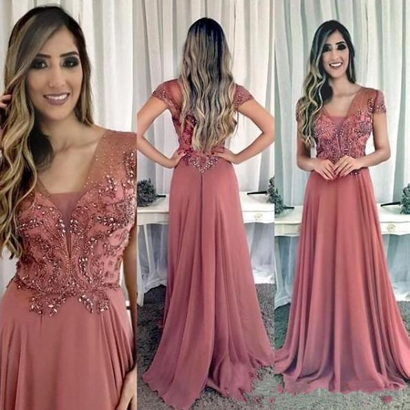 2019 Cheap Chiffon Cap Sleeves Beaded Crystals A-line Evening Dresses Prom Dresses Elegant Formal Bridesmaid Party Gowns Free Shipping