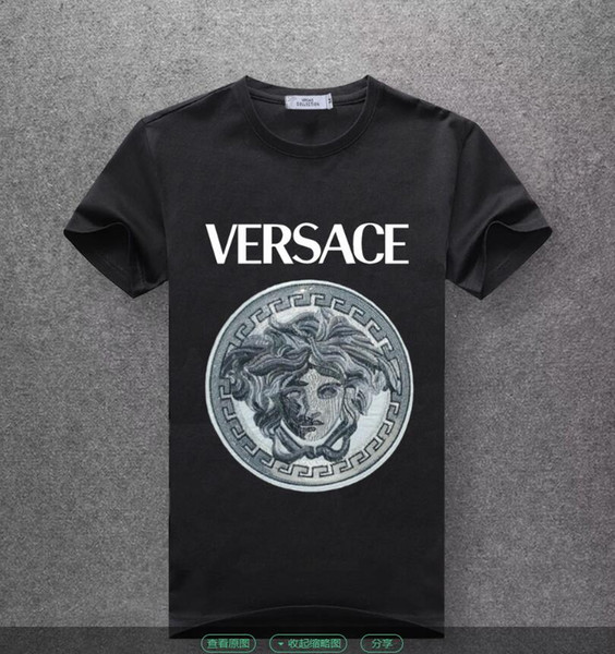Brand New T Shirt Versace  Color Black Embrodery White Logo  FREE P/&P 2019  TOP