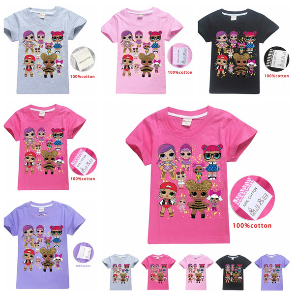Kid Surprise Girl T Shirt Summer Cotton Tees Round Neck Short-Sleeved T-Shirt Boys Children Outwear Top Clothing 80pcs AAA1982
