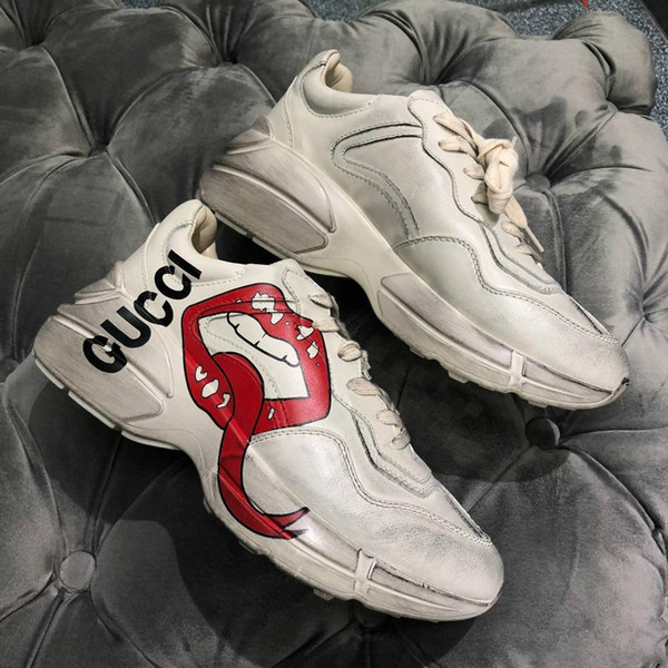 أحدث ryton خمر المدرب مع الأحمر الفم طباعة النساء الفاخرة خمر المدرب الرجال مصمم أحذية رياضية المعتاد 35-44