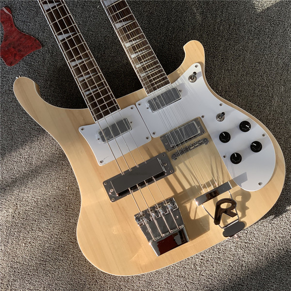 Factory natural wood color double neck electric ba and guitar 4 12 tring chrome hardware white pickguard offer cu tomized
