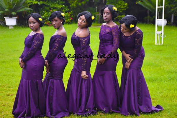 Robe Demoiselle D'honneur Long Sleeve Mermaid Bridesmaid Dresses Purple Boat Neck Lace Junior Formal Dress for Wedding Party