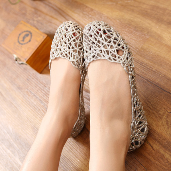 Hot Sale-Women Summer Bird's Nest Sandals Shiny Crystal Flat Jelly Shoes Flat-bottomed Hole Shoes Female Beach Sandals