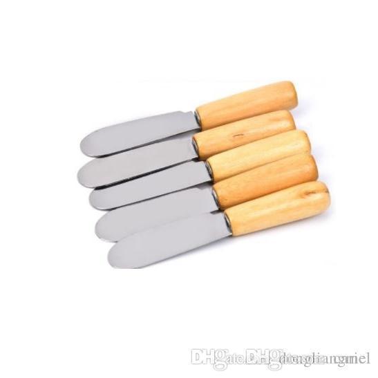 best selling Cariel Stainless Steel Cutlery Butter Spatula Wood Butter Knife Cheese Dessert Jam Spreader Breakfast Tool baking pastry wn596B