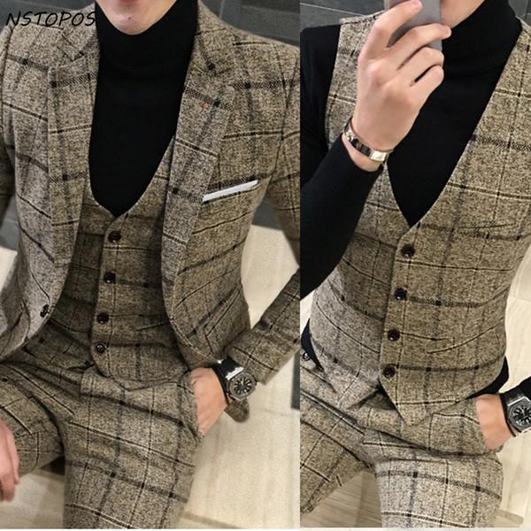 3 Piece Tweed Suit Men Plaid Blazer 4XL 5XL Khaki Grey Blue Black Groom Wedding Dress Suit Costume Homme Ternos Slim Fit C19011501
