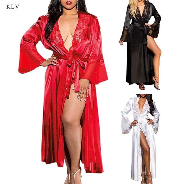 KLV Womens Sexy Kimono largo vestido de encaje bata de baño ropa interior vestido de seda de hielo camisón de color sólido camisón camisón más el tamaño