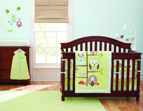 Baby bedding set 7Pcs owl Cotton Baby Crib set for boy Baby Bed set Quilt Mattress Sheet Skirt Crib Protector Bumpers