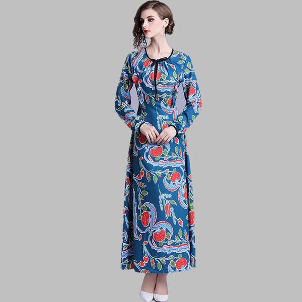 Compre 2019 Nueva Llegada Mujeres Runway Designer Print Vestido Largo Manga Larga Cuello Redondo Arco Vestido Largo De Invierno Vestidos A 5988 Del