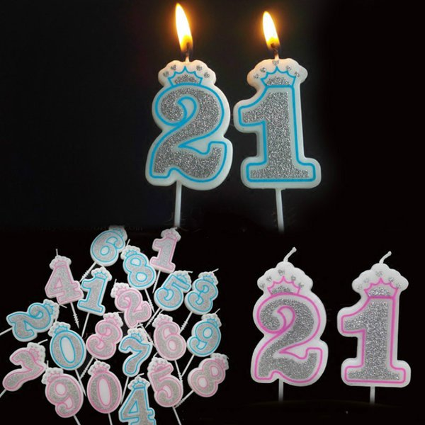 Creative Sliver Pink/blue Crown Number 0-9 For Kids Adult Girls Boys Birthday Party Candles Cake Decorations C19041901