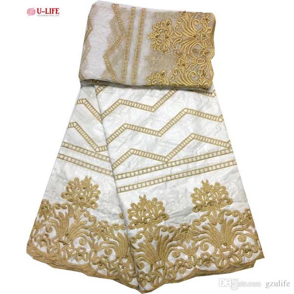 African Bazin Riche Fabric Bazin Riche Getzner With French Mesh Embroidered Nigerian Wedding Dress Women Fabrics New Design BL-068