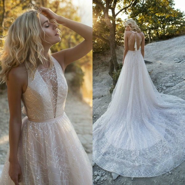 Luxury Beading Rhinestone Wedding Dresses Bridal Gowns A Line 2020 Beach Boho Wedding Dress Robe De Mariee
