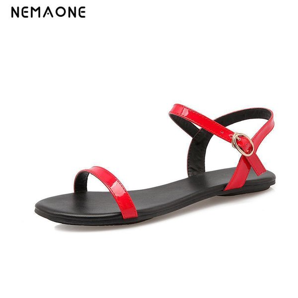 Nemaone Black White Red Women Sandals New Summer Ankle Strap Sandals Flip Flops Size 33-40 Shoes Flat Sandal Y19070203