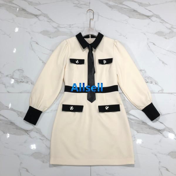 haut de gamme femmes filles chemise robe cravate patchwork boutons col rond manches longues une ligne jupe courte top qualité design de mode robes de luxe