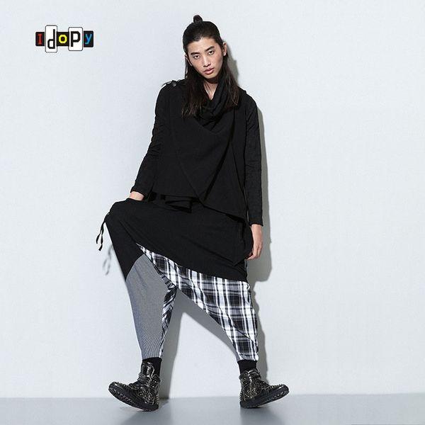 Nuevo tamaño grande para mujer para hombre a cuadros impresa comprobado pantalones harén de la entrepierna Hip Hop suelta holgada holgada cómoda pantalones Unisex