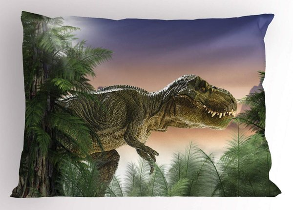Travesseiro Jurássico Sham Dinossauro na Selva Árvores Floresta Natureza Madeiras Assustador Violência Decorativa Tamanho Padrão Impresso Fronha
