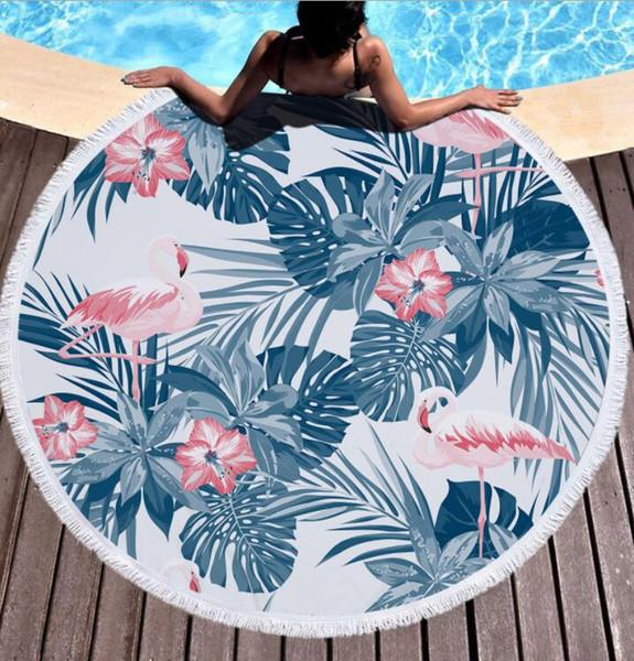 150cm Round Beach Towel Flamingo Microfiber Beach Shawl Circle Mat Elephant skull design Beach mat KKA6655