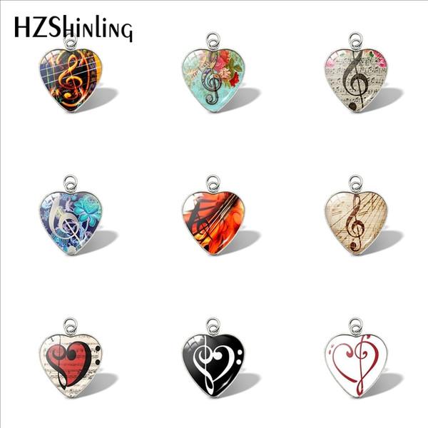 2019 New Guitar Heart Pendant Treble Clef Bag Purse Car Ladies Pendants Wallet Charms Glass Jewelry