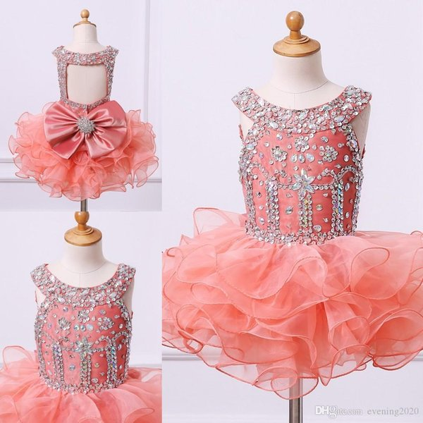 Cute Coral Crystals Girl Pageant Dresses Ruffles Skirts Kids Formal Wear First Communion Dresses for Little Baby Cupcake Party Prom Dresses