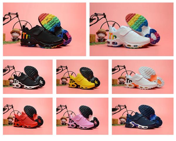 2019 designer toddler Unisex kids shoes Mercurial TN Breathable tn Plus Rainbow Mesh Running Sneakers tns children outdoor sport trainers