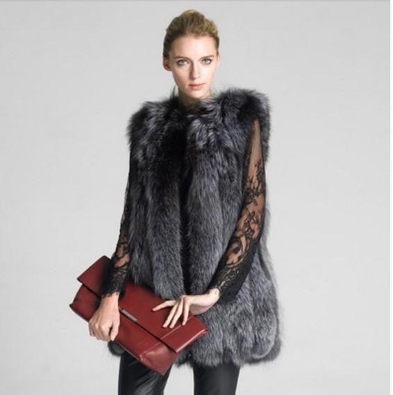 2019 Vetement Gilet Femme Faux Fox Fur Vest Female Coat Winter Fur Vest Fluffy Waist Coat Plus Size Slim Sexy Long AW227