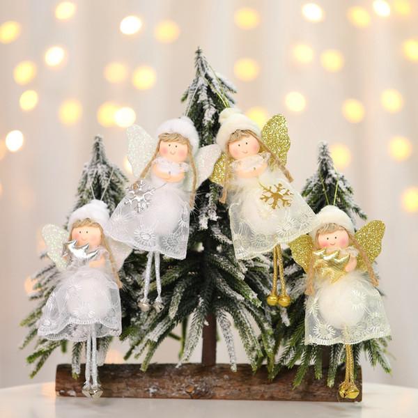 Weihnachtsbaum Kreative Festival hängende Dekoration Mini-Spielzeug-Anhänger Netter Engel Spitze Puppe-Kind-Geschenk-Flitter Weihnachtsbaum Ornament SH190918
