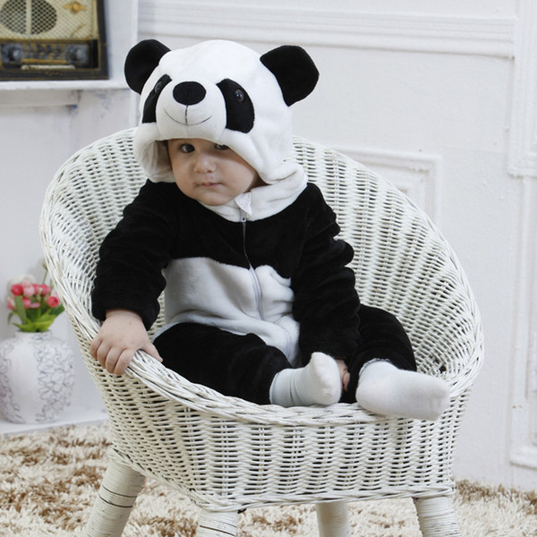 Flannel Winter Panda Baby Boys Girls Rompers Kids Clothing New Born Cute Animal Cartoon Toddler Children's Rompers Clothes