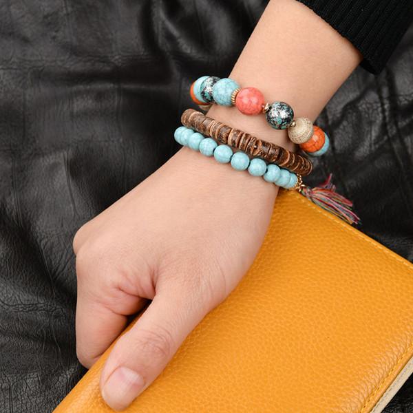 Mode Böhmischen Shell Turtle Charm Armbänder für Frauen Gold Farbe Karte Bangles Set Strang Perlen Armband Weibliche 2019 Schmuck