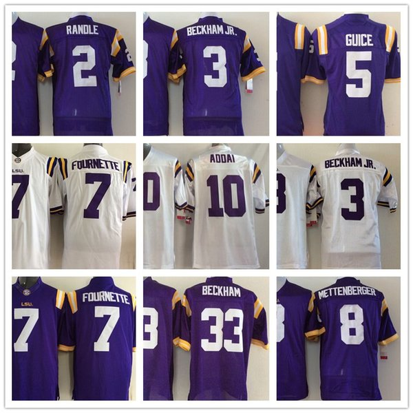 LSU Tiger 2 Rueben Randle 3 Odell Beckham Jr 5 Derrius Guice 7 Fournette 10 Joseph Addai NCAA College Football Maglie Loghi cuciti