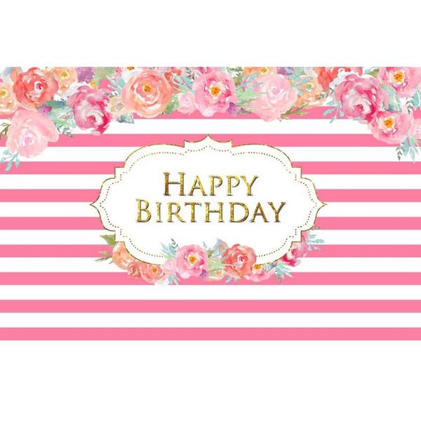 7x5ft Light Pink White Stripes Flowers Happy Birthday Party Custom Photo Studio Background Backdrop Vinyl Banner 220cm x 150cm