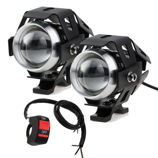 2PCS 125W Мотоцикл фары с Переключатель Мотоциклетные прожектор U5 LED Мото вождения туман пятна головной свет лампы DRL