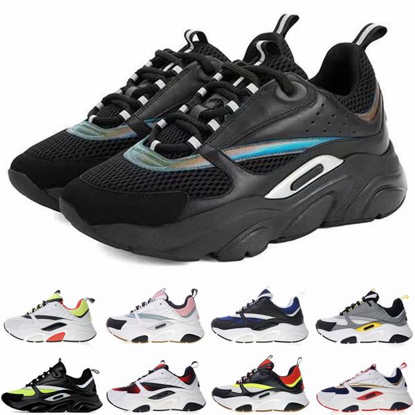 Casual t10 zapatilla de deporte al por mayor de las zapatillas de deporte de becerro B22 Formadores para hombre Negro clásico de las mujeres plana zapatilla de deporte remiendo retro de lujo
