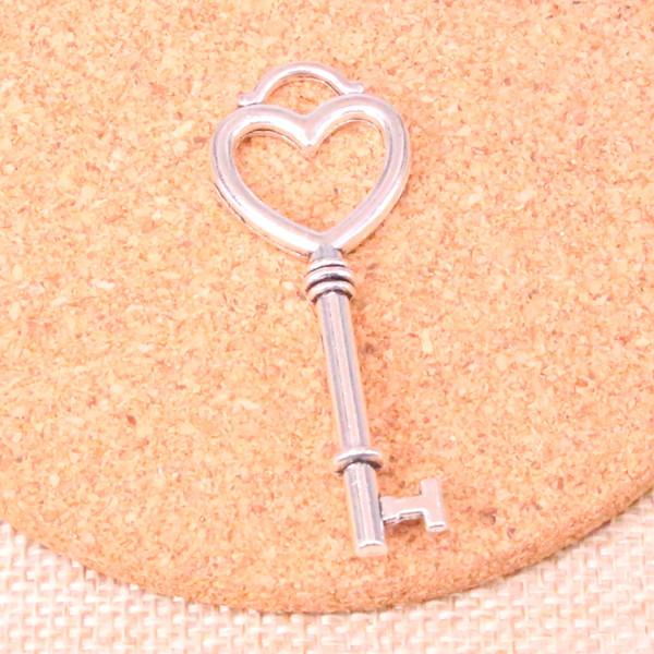 37 pcs Encantos esqueleto chave do coração Antigo Banhado A Prata Pingentes Fit Jóias Fazendo Descobertas Acessórios 53 * 20mm