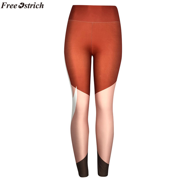 FREE OSTRICH women fashion stitching striped print high waist slim leggings elastic push up pants tight fitness pants plus size