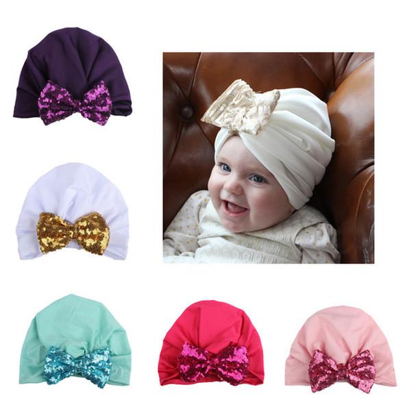Paillette Bowknot Hat Baby Sequins Knot Princess Soft Cotton Cap Infant Newborn Fashion Beanie Hat Spring Autumn 10 colors