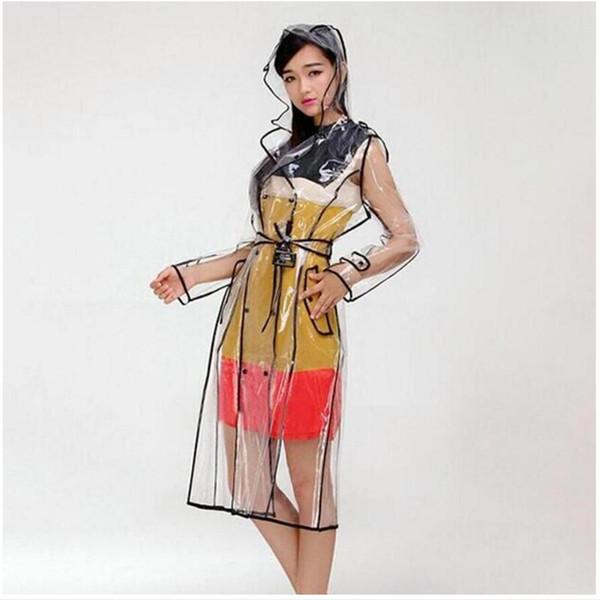 EVA transparent imperméable en vinyle Imperméables femmes Long clair manteaux de pluie de la piste avec capuche femme Voyage Veste Imperméables