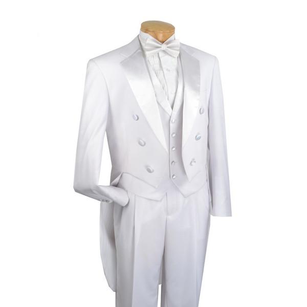 Tailcoat/Morning Style Groom Tuxedos White Groomsmen Notch Lapel Best Man Suit Wedding/Men Suits Bridegroom ( Jacket+Pants+Vest+Tie ) A577